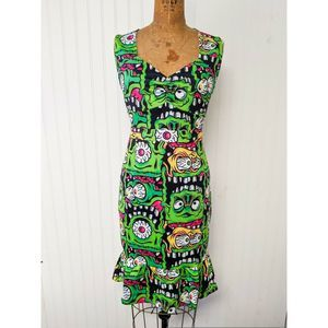 Sourpuss Clothing Zany Fink Faces Wiggle Dress